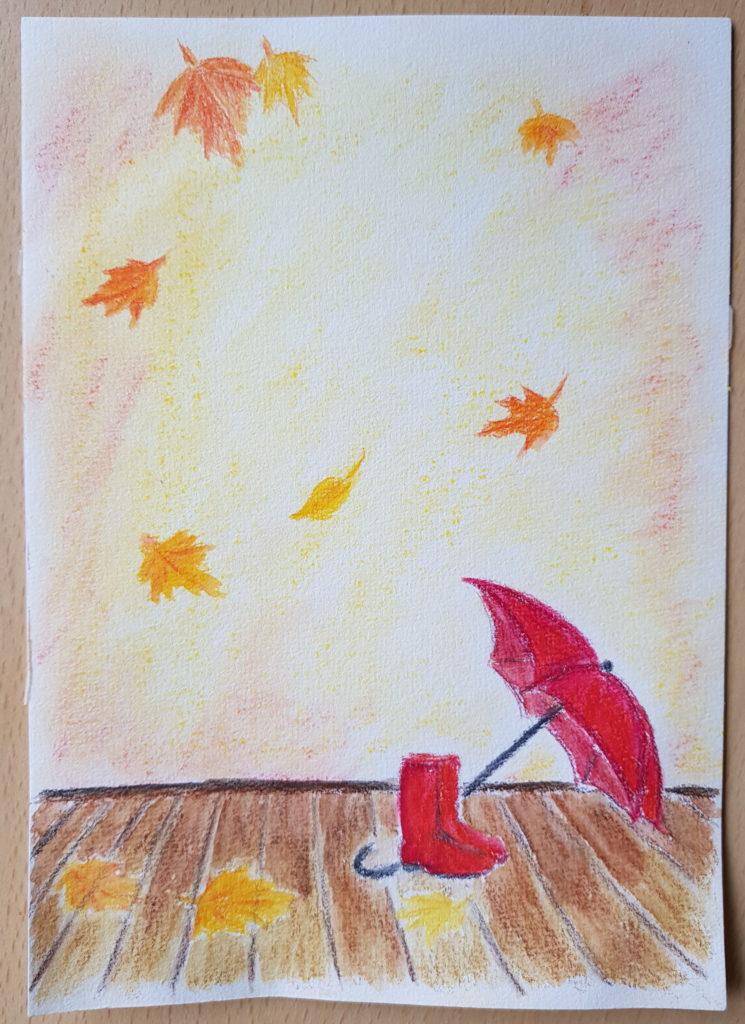 Herbstbild mit Pastellkreiden