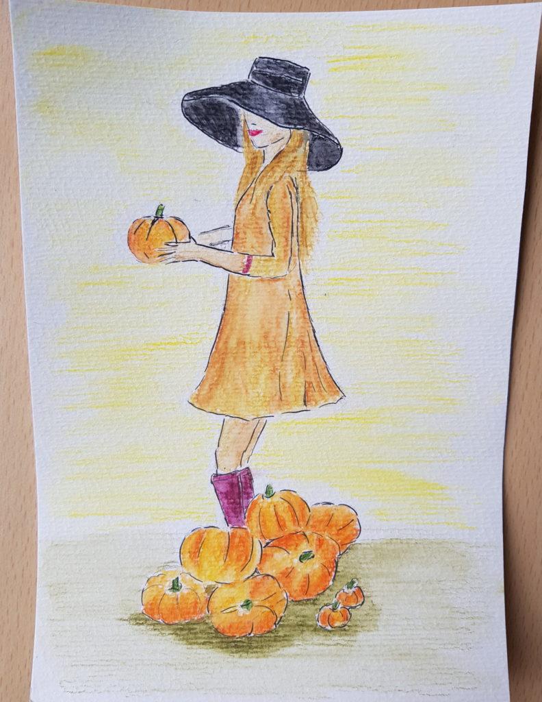 Herbstbild mit Aquarellstiften
