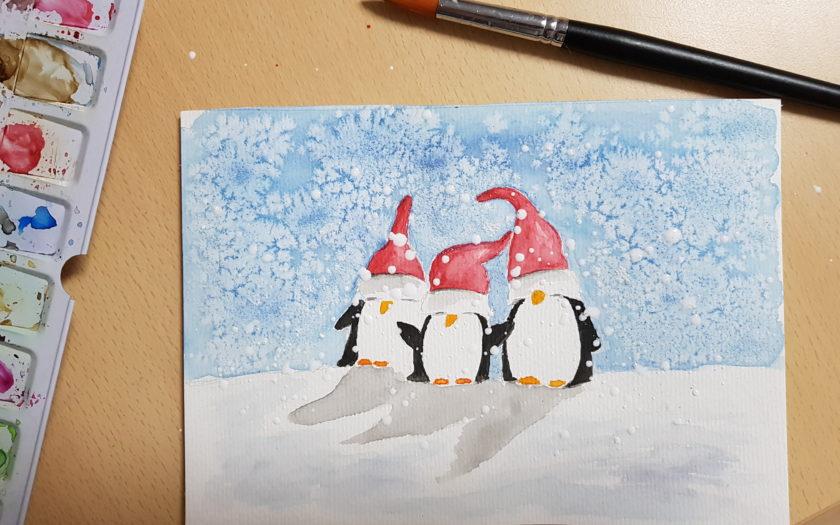 Weihnachtspinguine im Schnee